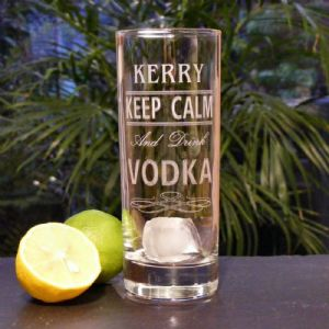 Personalised Engraved Keep Calm and Drink Vodka, Gin, Rum Glass